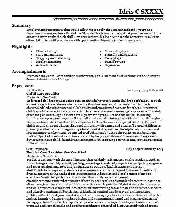 professional child care provider resume examples childcare livecareer sample for educator Resume Sample Resume For Child Care Educator