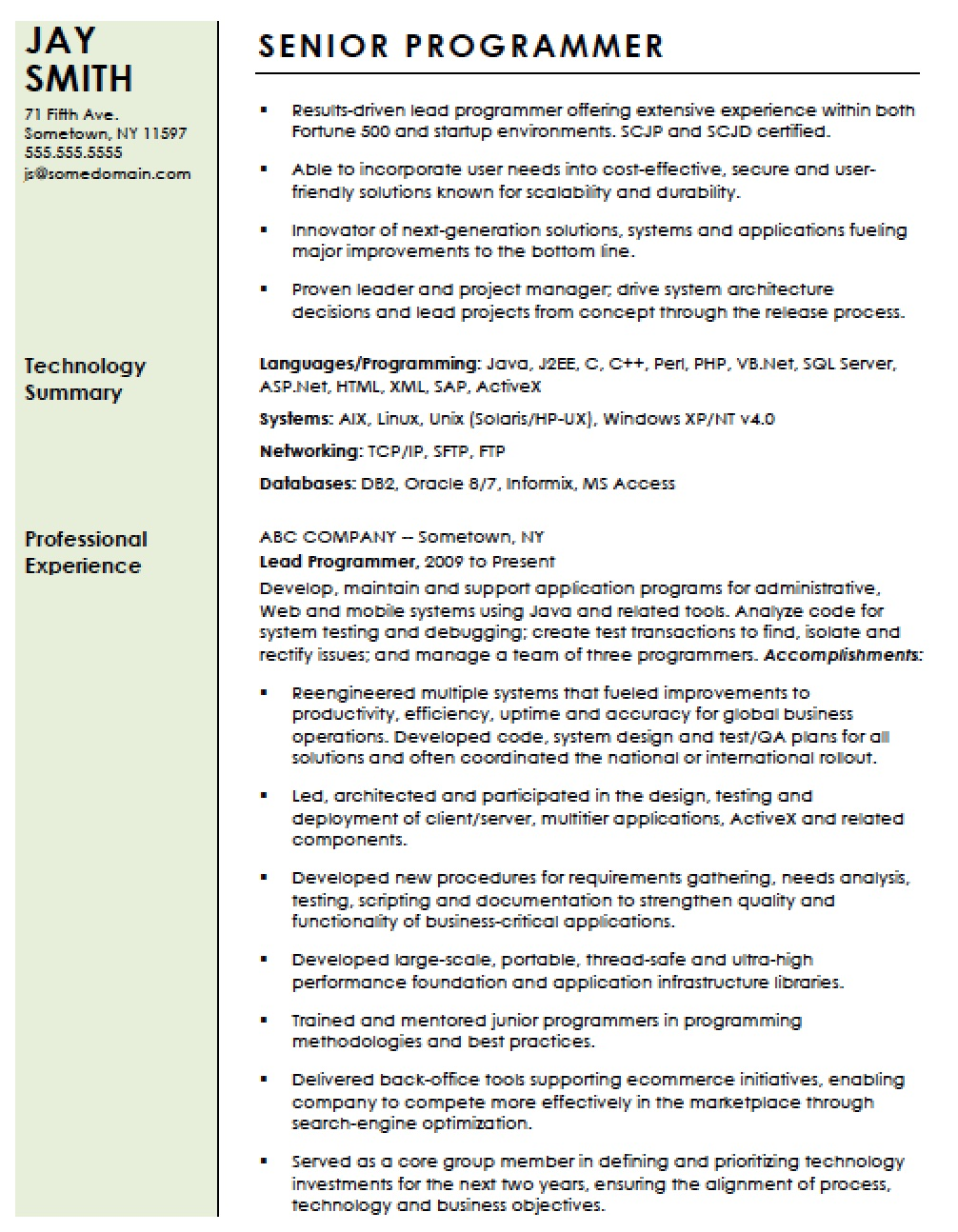 professional computer programmer resume template templates writing for lawyers nanny web Resume Computer Programmer Resume Template
