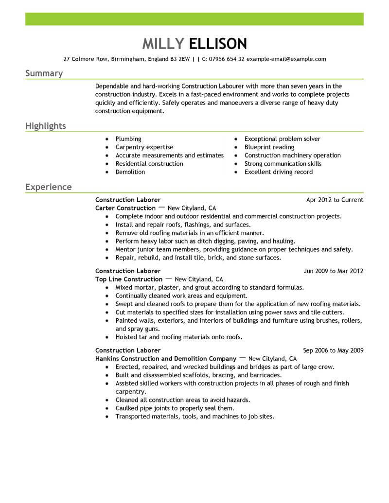 professional construction worker resume examples livecareer format for job labor emphasis Resume Resume Format For Construction Job