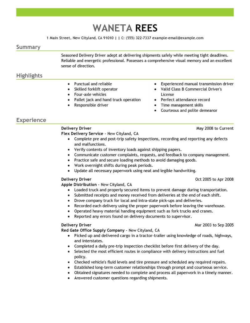 professional delivery driver resume examples driving livecareer transportation emphasis Resume Delivery Driver Resume Examples