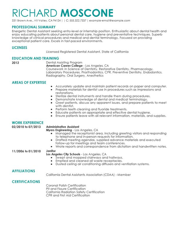 professional dental assistant templates to showcase your talent myperfectresume resume Resume Dental Assistant Resume Template
