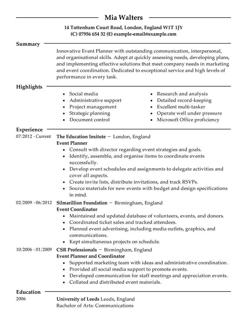 professional event planner resume examples livecareer party sample marketing modern Resume Party Planner Resume Sample
