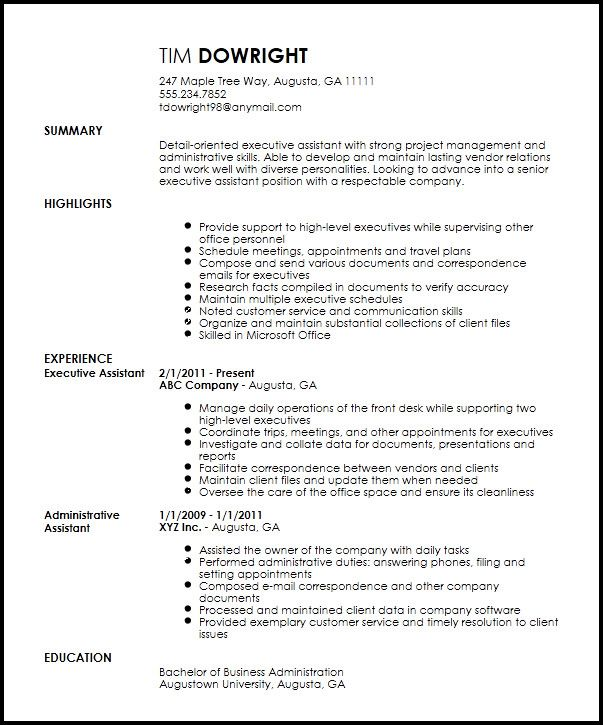 professional executive assistant administrative resume template stocker social work Resume Executive Assistant Resume