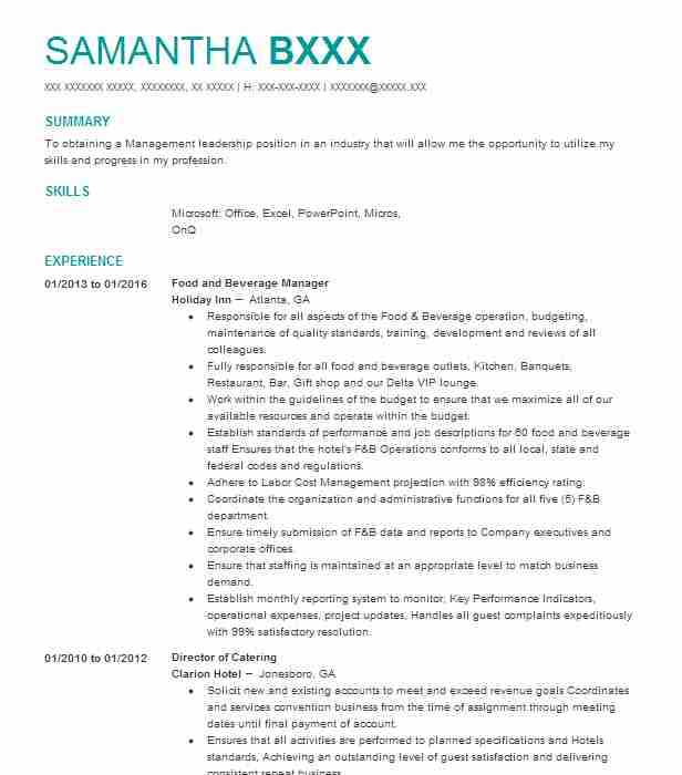 professional food and beverage manager resume examples service livecareer server job Resume Food And Beverage Manager Resume