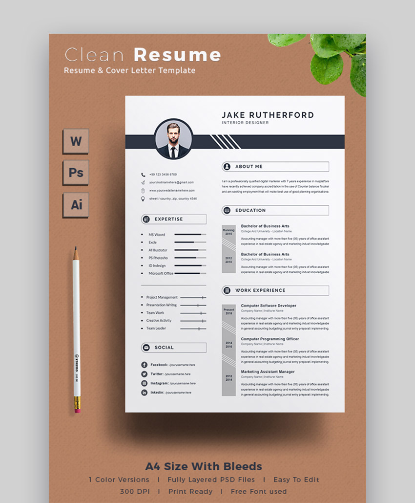 professional ms word resume templates simple cv design formats free graphicriver prdxg7tv Resume Free Word Resume Templates 2020 Download