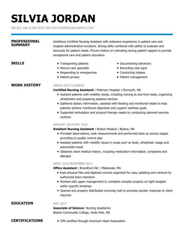 professional nursing resume examples livecareer summary for certified assistant of Resume Professional Summary For Nursing Resume