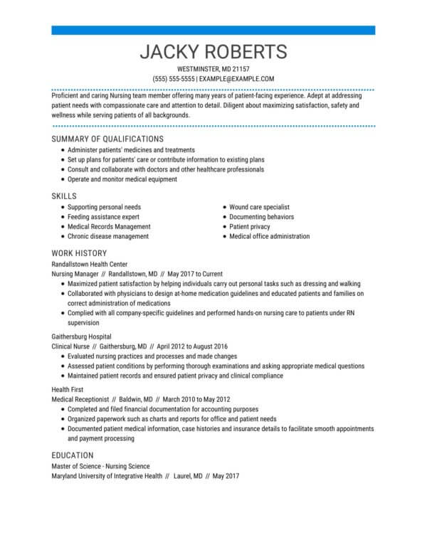 professional nursing resume examples livecareer summary for manager indeed subscription Resume Professional Summary For Nursing Resume