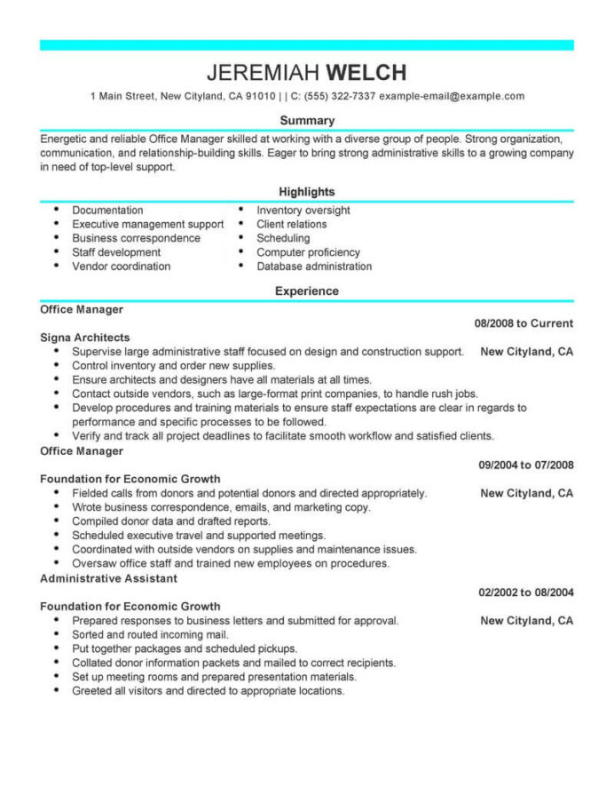 professional office manager resume examples administrative livecareer administrator job Resume Office Administrator Job Description For Resume