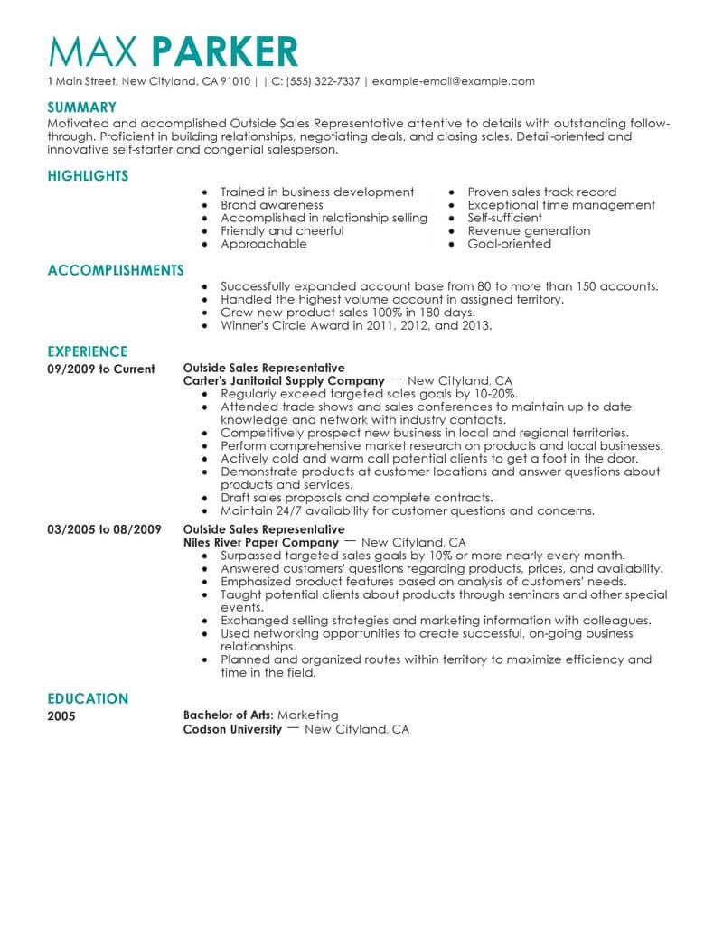 professional outside representative resume examples livecareer builder for jobs Resume Resume Builder For Sales Jobs