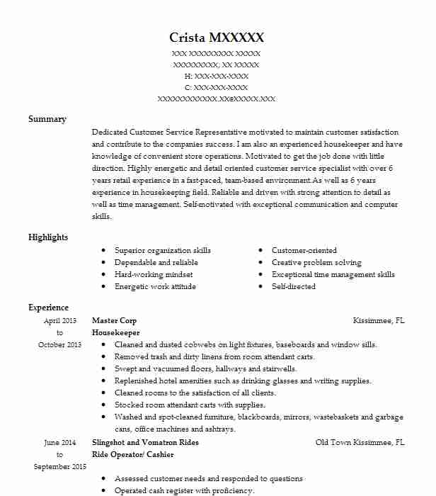 professional resume examples livecareer housekeeping skills research template military Resume Housekeeping Resume Skills
