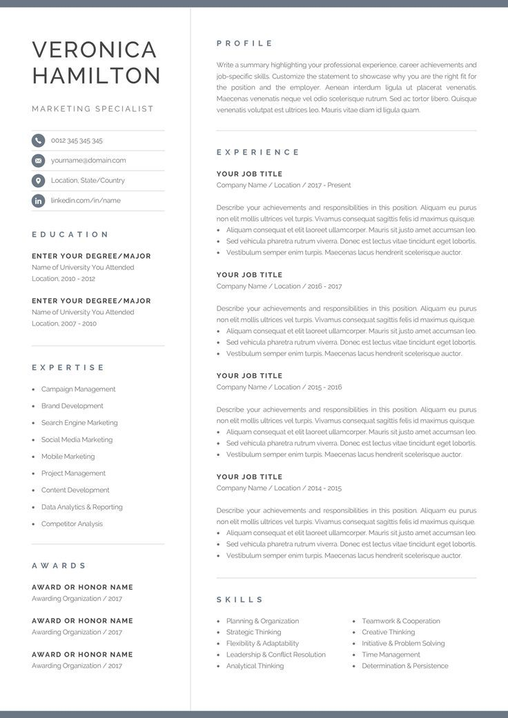 professional resume template compact etsy one looking sample years experience software Resume Professional Looking Resume Template