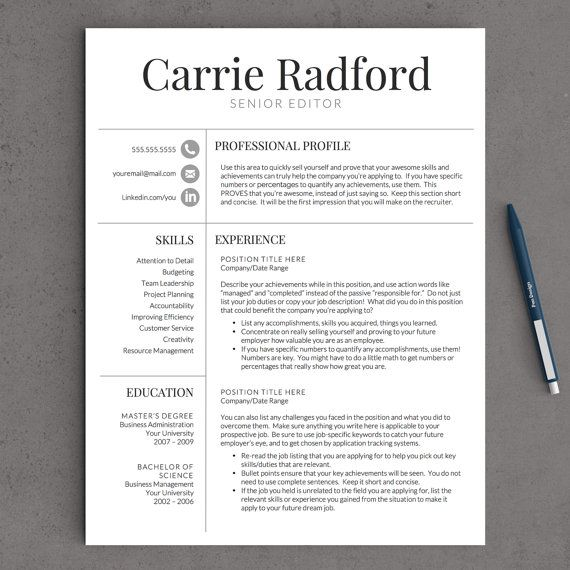 professional resume template for word etsy job tips looking turn your linkedin into cary Resume Professional Looking Resume Template