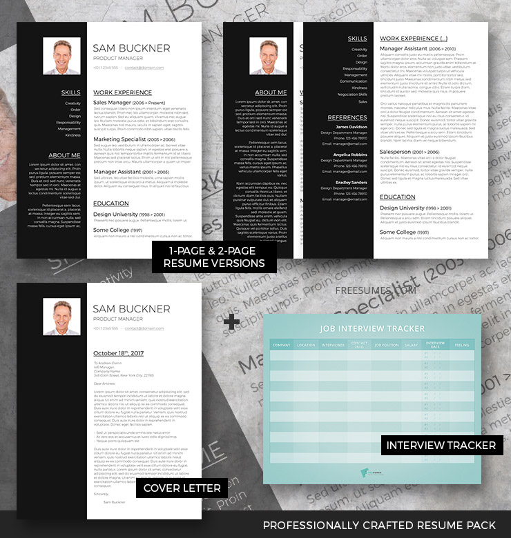 professional resume template set two tones freesumes cv analyzer hobbies for bank salon Resume Two Page Resume Template