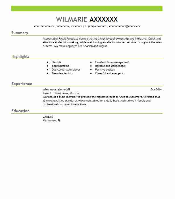 professional retail associate resume examples livecareer for restaurant manager position Resume Retail Sales Associate Resume