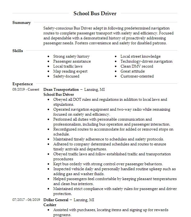 professional school bus driver resume examples driving livecareer accounting job skills Resume School Bus Driver Resume