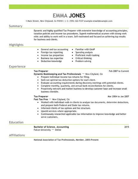 professional tax preparer resume examples finance livecareer job description accounting Resume Tax Preparer Job Description Resume