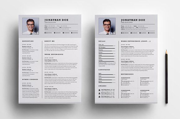professional two resume set cover letter template word templates esthetician objective Resume Two Page Resume Template
