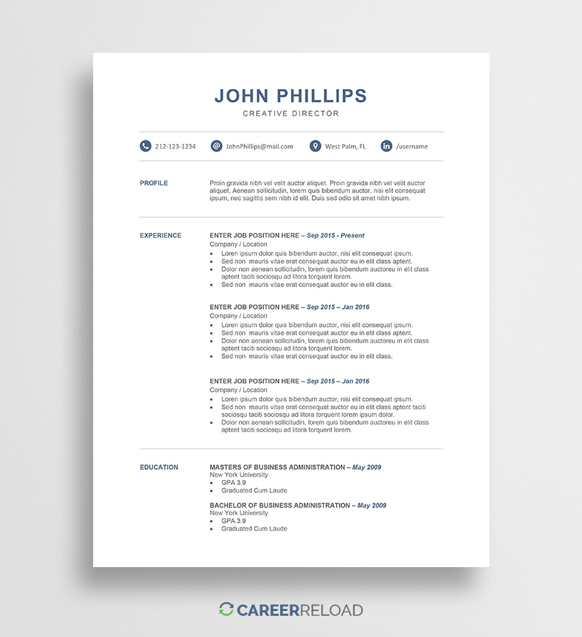 professional word resume template career reload free modern templates for john one job Resume Free Modern Resume Templates For Word