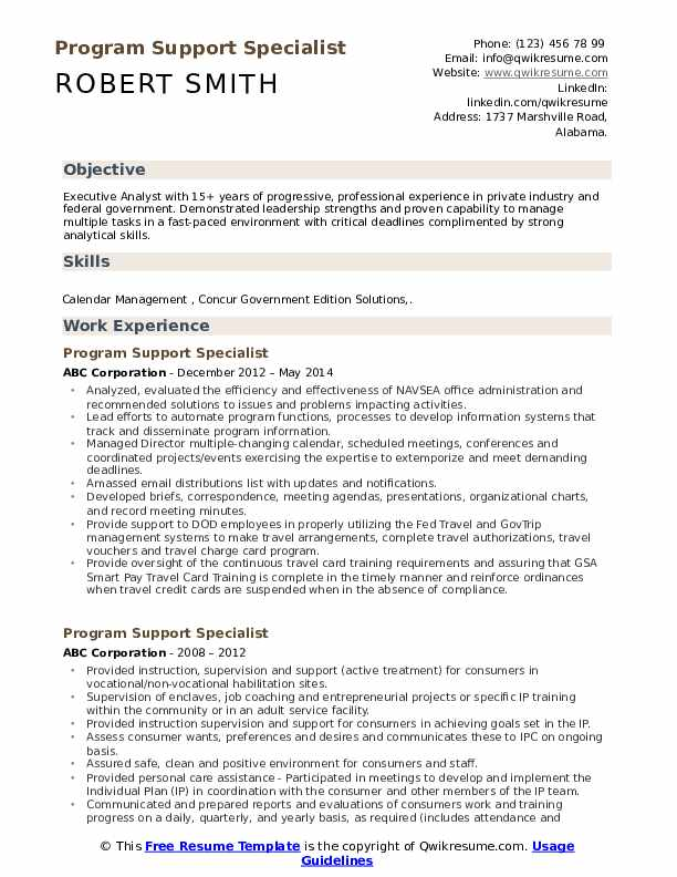 program support specialist resume samples qwikresume free federal government templates Resume Free Federal Government Resume Templates
