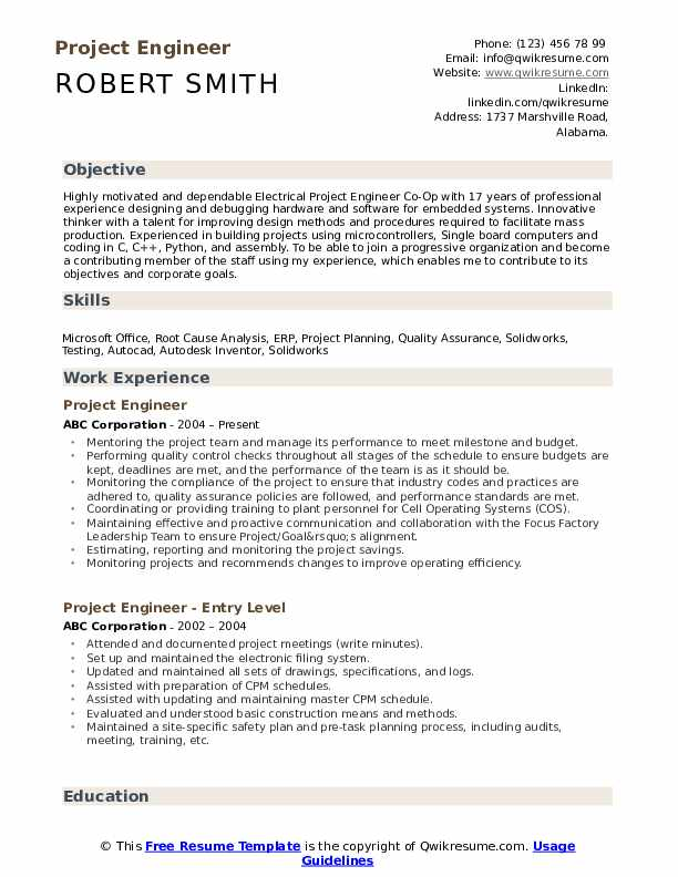 project engineer resume samples qwikresume construction objective pdf an example of Resume Construction Project Engineer Resume Objective