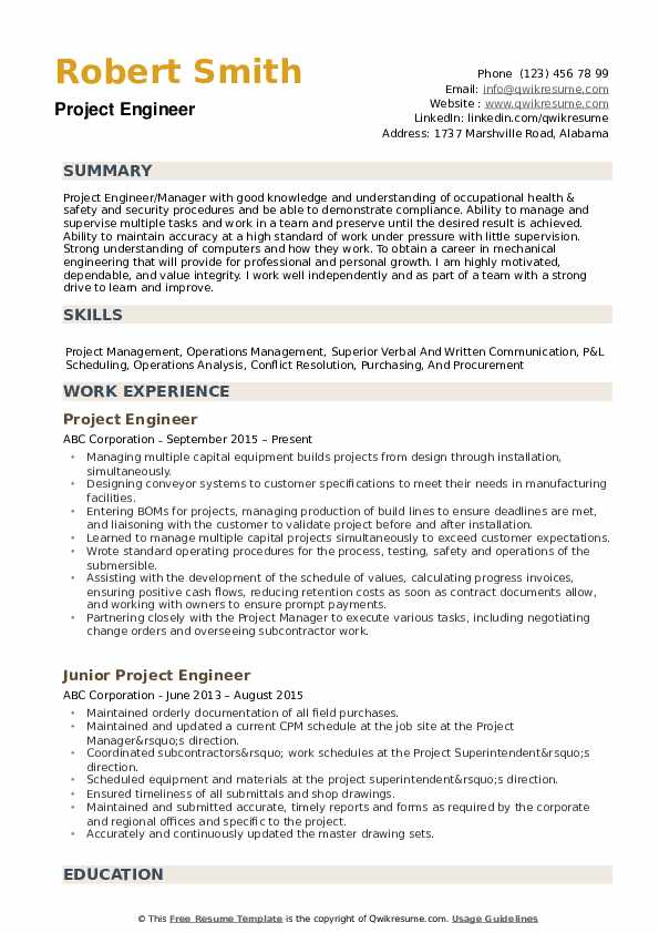 project engineer resume samples qwikresume construction objective pdf best work skills Resume Construction Project Engineer Resume Objective