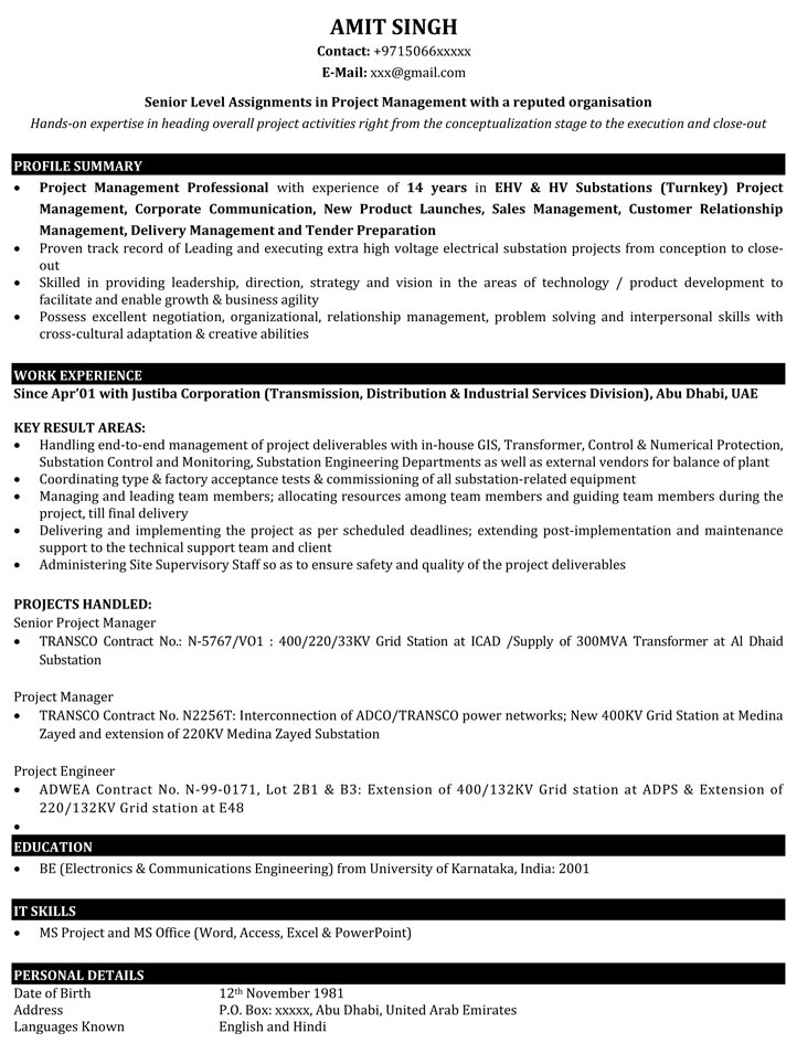 project manager resume samples sample for it naukri best template management objective Resume Best Resume Template For Project Manager