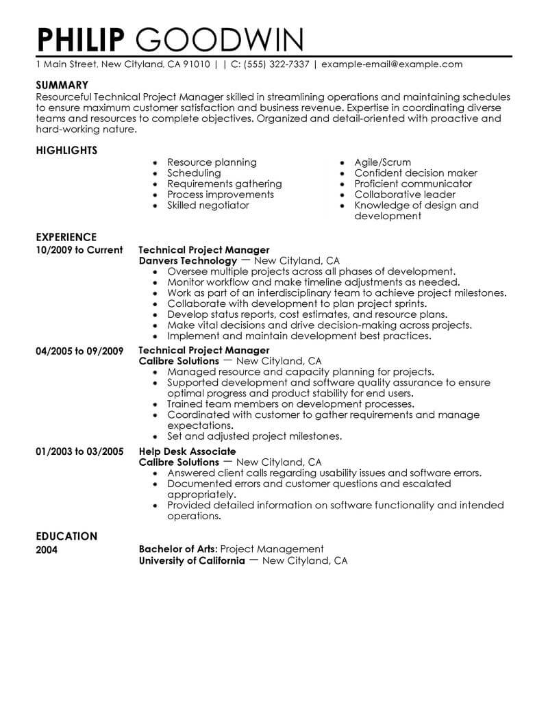 project manager resume template for microsoft word livecareer best technical computers Resume Best Resume Template For Project Manager