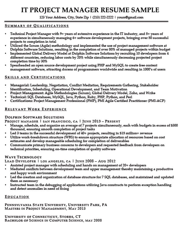 project manager resume writing service sample for pmp certified security entry level Resume Project Manager Resume Writing Service