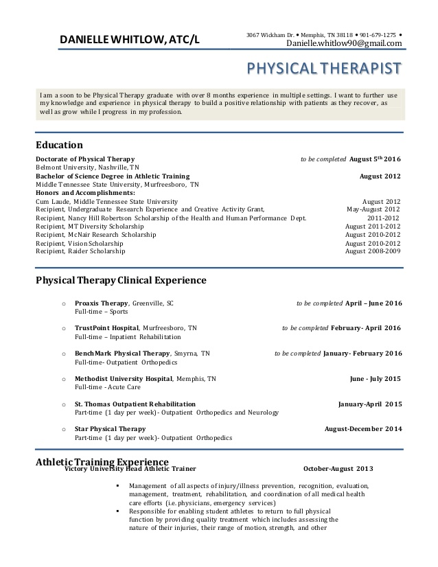 pt resume physical therapy student summary examples project manager rental template entry Resume Physical Therapy Student Resume