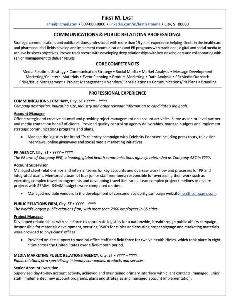 public relations resume sample professional examples topresume city manager finalist Resume City Manager Finalist Resume