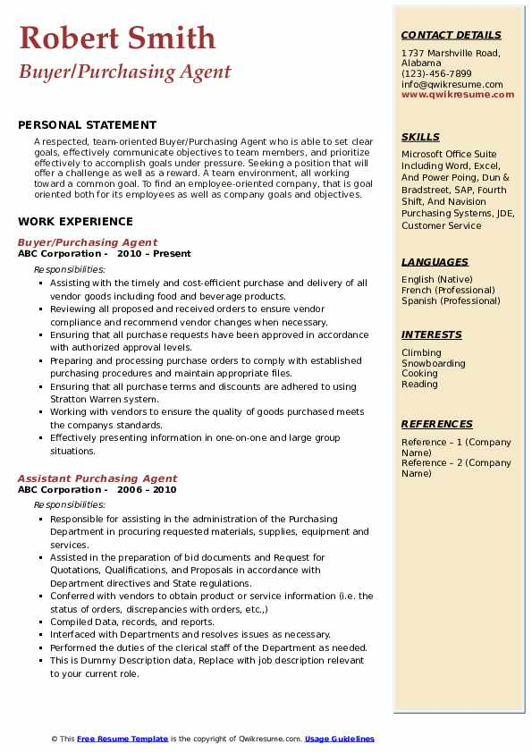 purchase resume sample pdf manager samples free format purchasing agent publishing Resume Free Resume Format Pdf