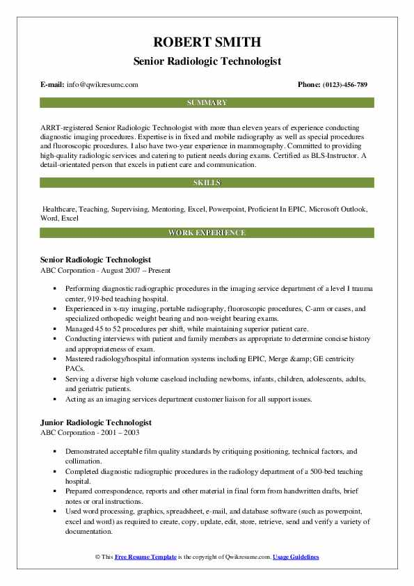 radiologic technologist resume samples qwikresume tech template pdf best summary for Resume X Ray Tech Resume Template