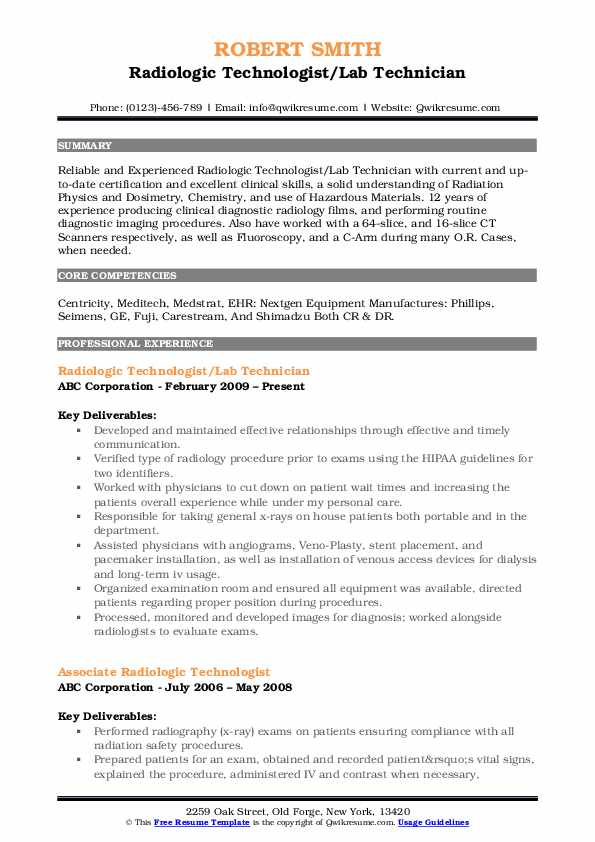 radiologic technologist resume samples qwikresume tech template pdf non specific Resume X Ray Tech Resume Template