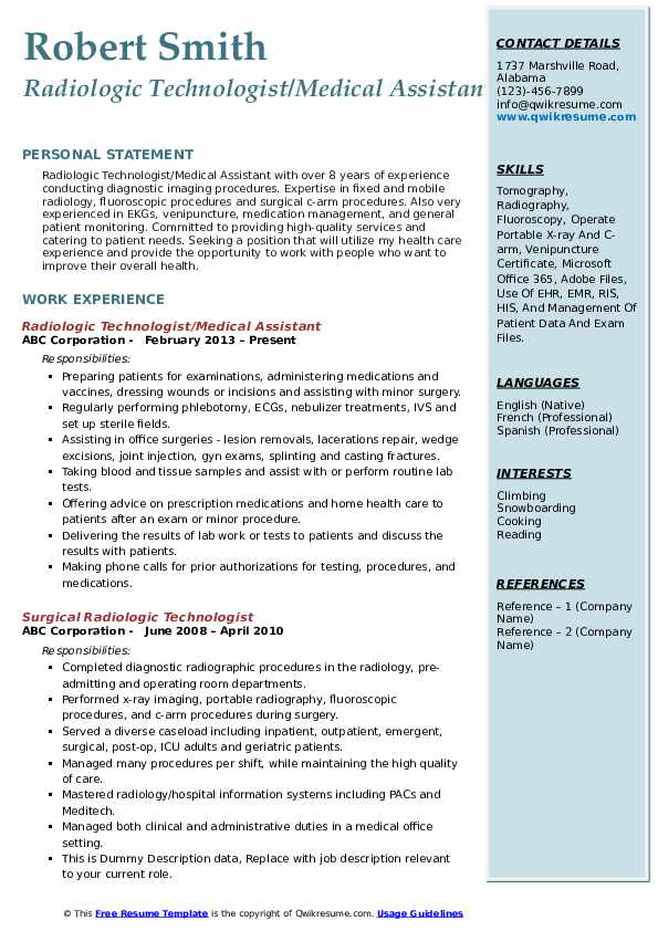 radiologic technologist resume samples qwikresume tech template pdf physical therapist Resume X Ray Tech Resume Template