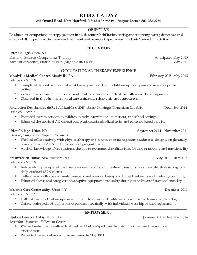 rebecca resume general occupational therapy volunteer interests examples loan Resume Occupational Therapy Volunteer Resume