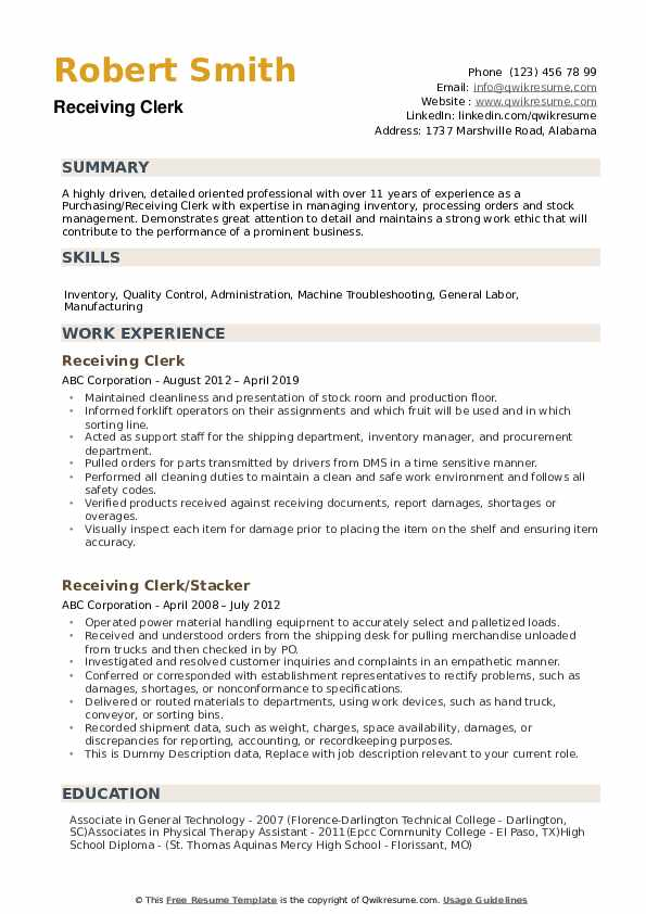 receiving clerk resume samples qwikresume shipping and pdf sap fico project manager tcnj Resume Shipping And Receiving Clerk Resume