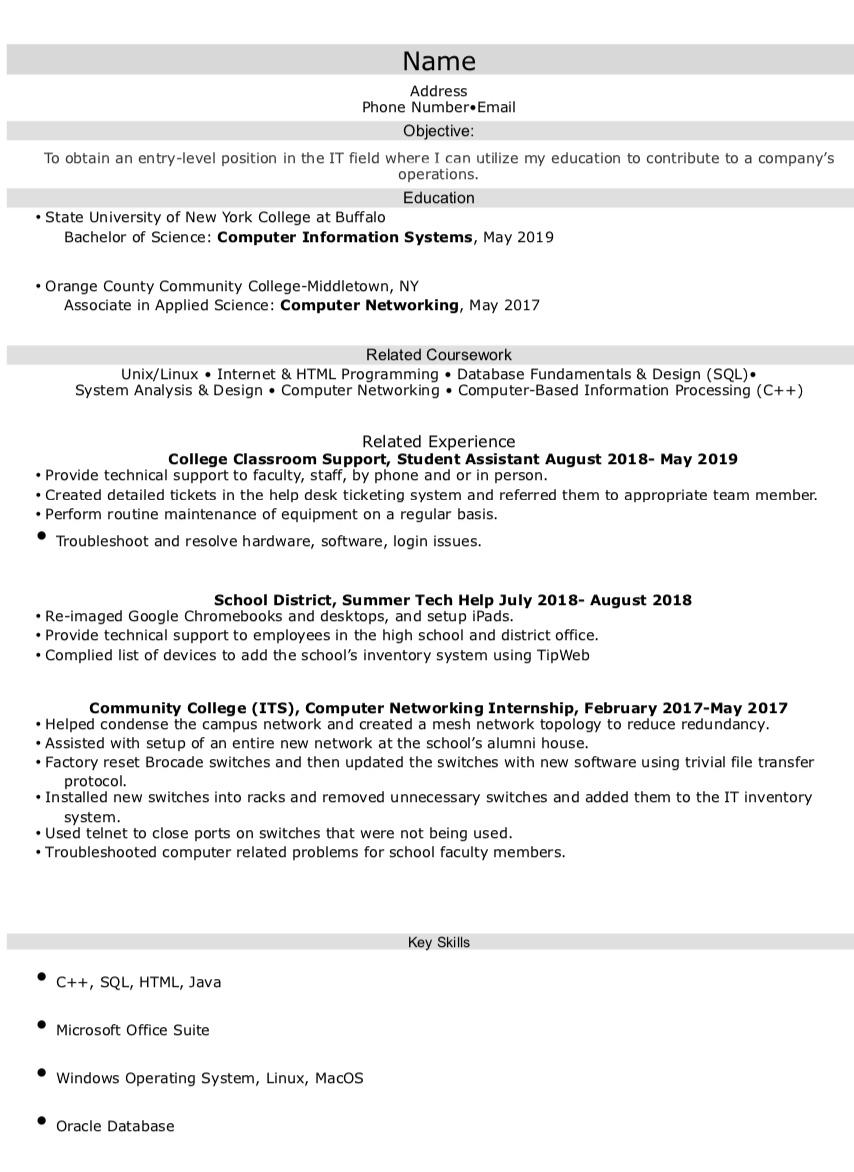 recent college graduate looking for entry level it help desk postion resumes new resume Resume New College Graduate Resume
