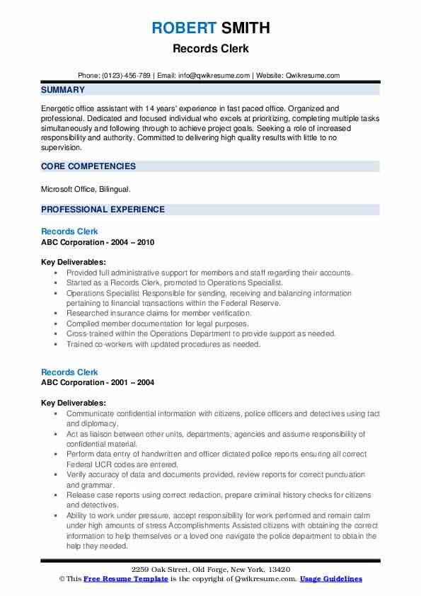 records clerk resume samples qwikresume management sample pdf sailing harvard examples Resume Records Management Clerk Resume Sample