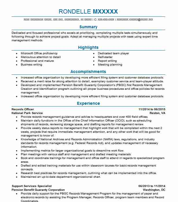 records officer resume example resumes livecareer management sample assessment tool Resume Records Management Resume Sample