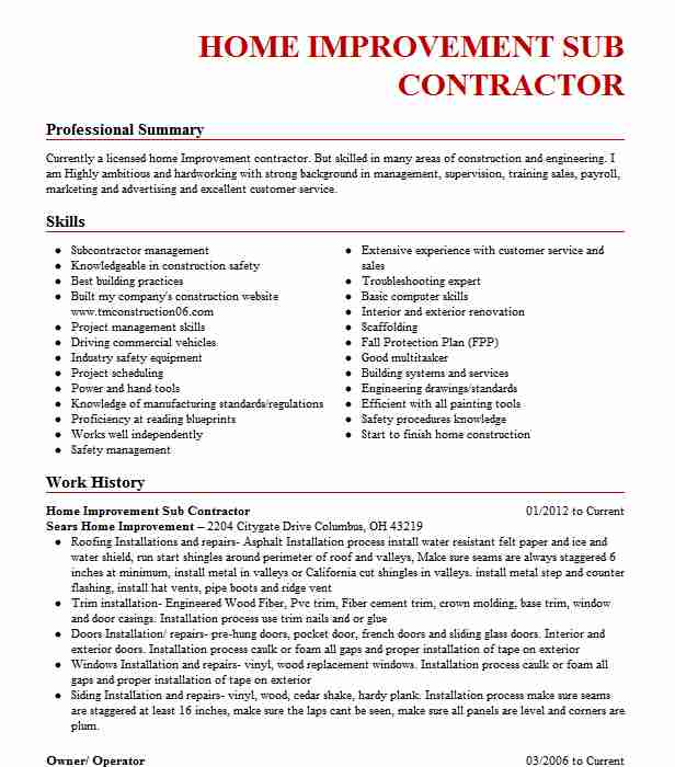 registered home improvement contractor resume example tc improvements experience based Resume Home Improvement Resume