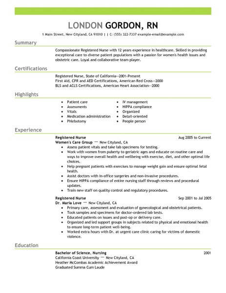 registered nurse resume template for microsoft word livecareer year experience healthcare Resume 1 Year Experience Nurse Resume