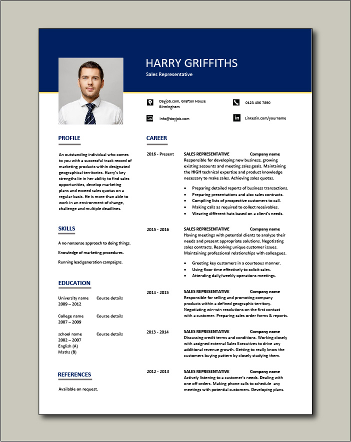 representative resume selling sample example accounts clients campaigns job description Resume Good Resume For Sales Position
