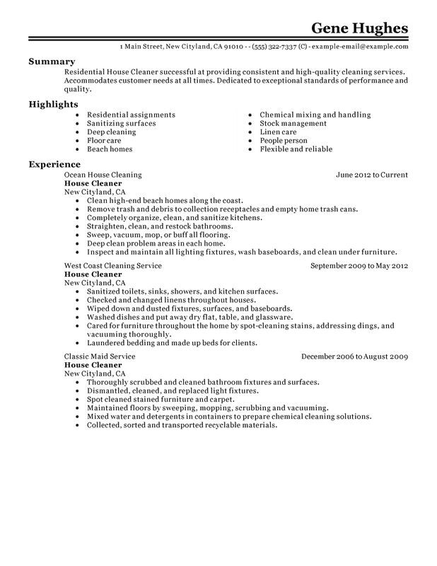 residential house cleaner resume examples free to try today myperfectresume cleaning job Resume House Cleaning Job Description For Resume