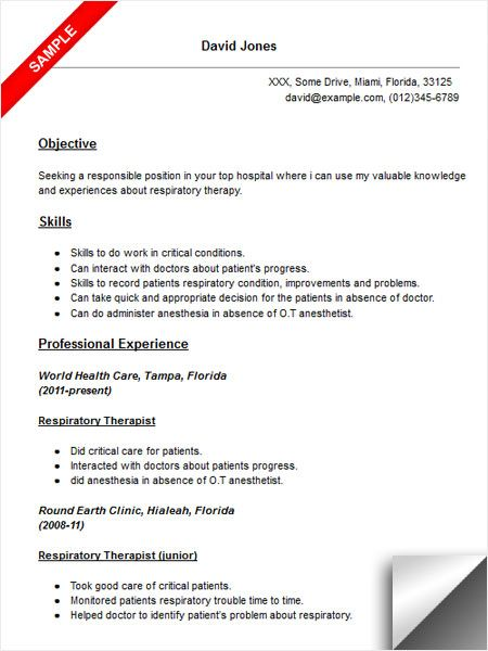 respiratory therapist resume sample objective examples job samples junior level document Resume Respiratory Therapist Resume Sample