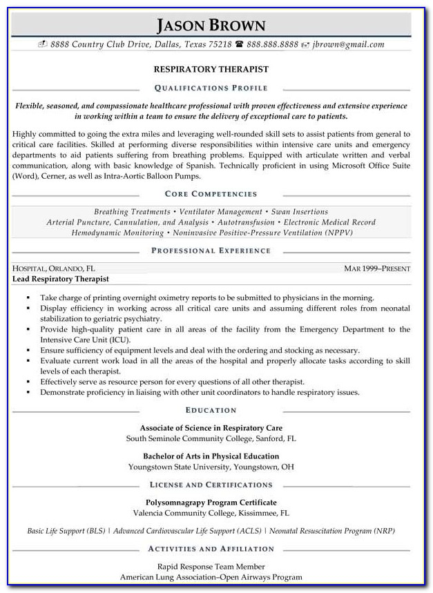 respiratory therapist resume samples entry level vincegray2014 sample examples for Resume Respiratory Therapist Resume Sample