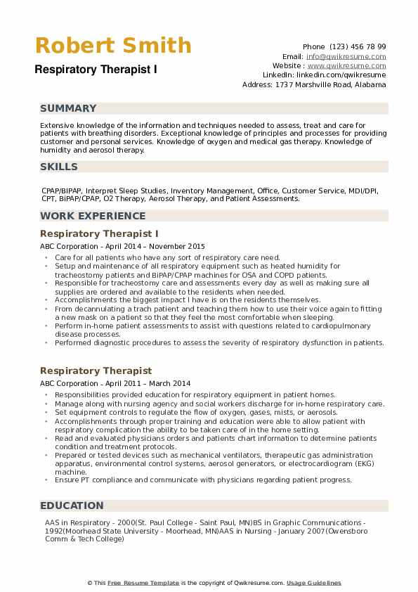 respiratory therapist resume samples qwikresume sample pdf angular projects for skills Resume Respiratory Therapist Resume Sample