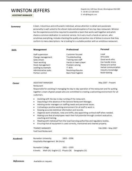 restaurant assistant manager resume templates cv example job description cover lette Resume Restaurant Assistant Manager Resume