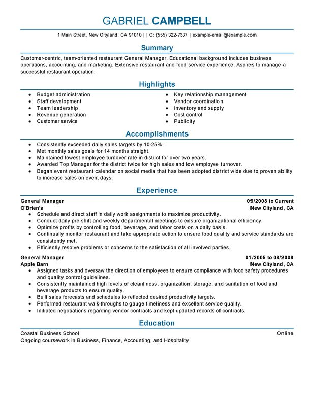 restaurant general manager resume examples free to try today myperfectresume assistant Resume Restaurant Assistant Manager Resume