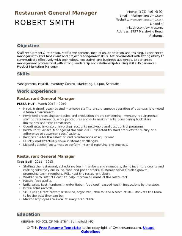 restaurant general manager resume samples qwikresume pdf writing examples free corporate Resume Restaurant General Manager Resume