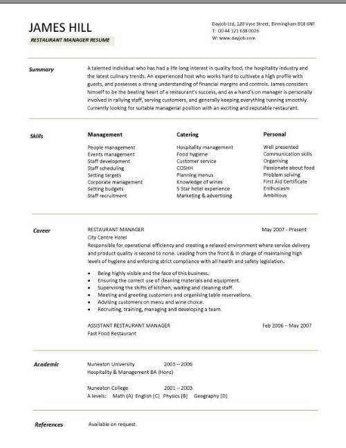 restaurant manager resume template for job pic sample new rn military members college Resume Resume For Restaurant Job